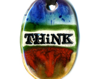 Think Ceramic Necklace in Rainbow Glaze