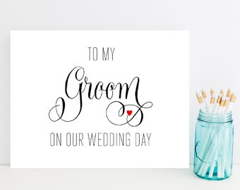 To Groom on Wedding Day, Card for Groom on Wedding Day - Card for Future Husband - Wedding Card for Groom