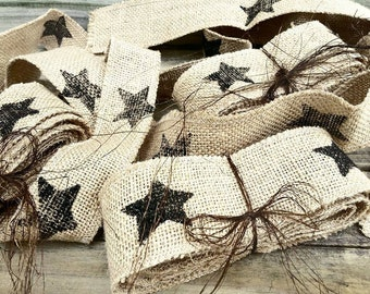 Burlap Black Star Garland Ribbon Sash 2.5 Yards Primitive Prim Dirty White Lock-rand edge Fabric Cloth Wreath Tree Mantle Decoration