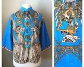 SALE.....Vintage 60s 70s blue Thai dragon blouse / tribal / boho / hippie / batik / deities