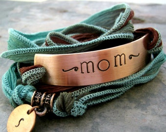Personalized Mom's Bracelet, Choose your Silk Ribbon Wrap, aluminum or copper bar, 30 character max, 15 per line, mother's day gift