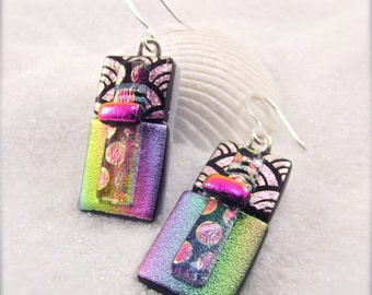 Fused glass earrings, Dichroic earrings, dichroic glass,jewelry,statement earrings, artisan jewelry,handcrafted, trending now,freshly picked