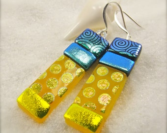Yellow jewelry, Fused glass earrings, Dichroic earrings, statement earrings, glass earrings, handmade, birthday gift, handcrafted, fusion