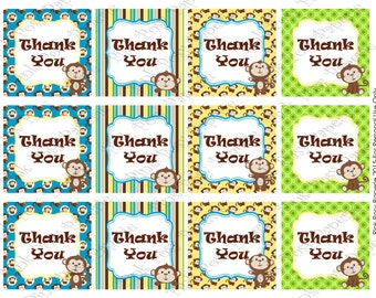 Printable Monkey Thank You Tags - Instant Download