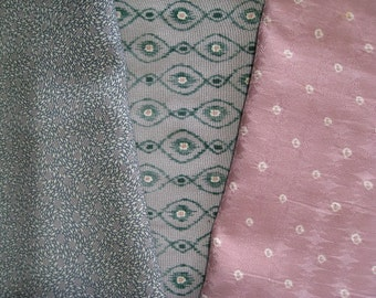 Pink and Green - Vintage Japanese Kimono Fabric 3 Sleeve Mix Bundle Crafting