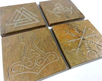 Slate Stone Coasters: Norse Collection - Handmade Carved Coaster Set of 4 - Natural Drink Coasters, Odin Thor Asatru