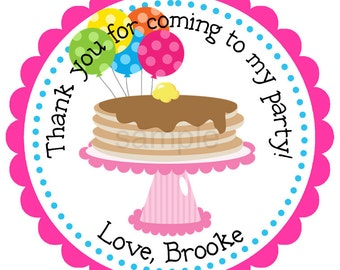 Pancake Party Personalized Stickers - Birthday, Address Labels, Children, Gift Tags, Party Favors - Set of 12
