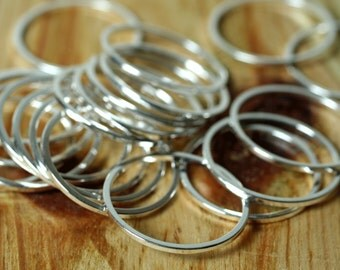 Silver plated circular link connector O ring 19mm outer diameter 1mm (18g) thick, 18 pcs (item ID YWFA00010BDE)