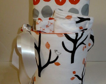 READY TO SHIP - Whispering Trees Baby Gift Basket Bucket Set in Tangerine