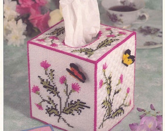 Butterfly Tissue Box Cover ~ plastic canvas pattern