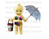 5 x 6  Beach Time Kewpie  printable, large image transfer  2 Files... INSTANT  Digital Download at Checkout, totes, cards, bags, pillows etc
