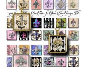 inchies, Fleur de Lis,  digital collage sheets,  INSTANT Digital Download at Checkout, inchie collage sheets, Paris, Marie Antoinette