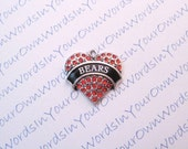 Customized Personalized Bears Pendant or Any Youth Sports Team Name Crystal Antique Silver Heart Custom Charm