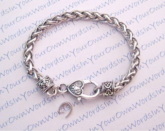 12 Antique Silver Chunky Chain Bracelet Blank Large Lobster Clasp with a Pinch Bail