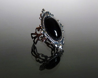 Victorian gothic ring - Black onyx ring antique silver ornate filigree steampunk ring adjustable ring SINISTRA