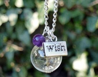 Dandelion necklace gemstone seed wish necklace, flower necklace, your choice of gemstone amethyst rose quartz etc