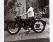vintage photo 1948 Bobbie Soxer Saddle Oxfords Lady Short Hair Whtie Shirt Rides Motorcycle