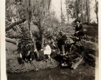 vintage photo 1916 Group of People Down at River fishing Before Church