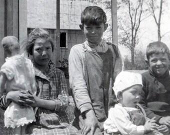 vintage photo 1920s Dust Bowl Farm Children Girl Holds Cloth Doll