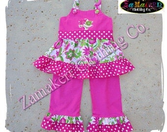 Custom Boutique Clothing Pink Floral Girl Tunic Ruffle Dress Top Ruffle Pant Outfit Set 3 6 9 12 18 24 month size 2T 2 3T 3 4T 4 5T 5 6 7 8