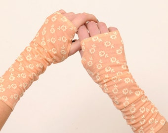 Long armwarmers in floral apricot, long fingerless gloves, floral jersey, womens armwarmers