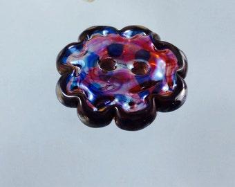 glass button, iridecent glass, oil slick glass, lampwork button, two hole button, flower button, sewing button, sewing button supply, custom