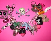 Bad Girl Charm Bracelet Jewelry Skulls Dice Gun Stars Pink Black Silver OOAK Gothic Goth Emo Scene Punk Rock & Roll Party Girl Rocker Chick