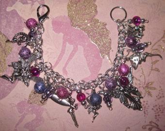 Fairy Charm Bracelet Pink Purple Silver Fairy Bracelet Fairy Jewelry Faerie Jewelry OOAK Eclectic Statement Piece Whimsical Fairies Faery