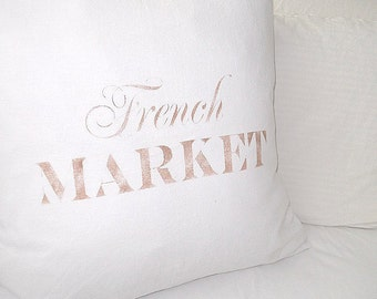 NEW!  Made to Order White Linen Cotton Blend SLIP COVER The French Market Front Design