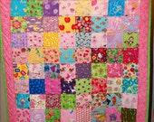Girl's I-Spy Quilt - Sparkling Pink Border- Free U.S. Shipping