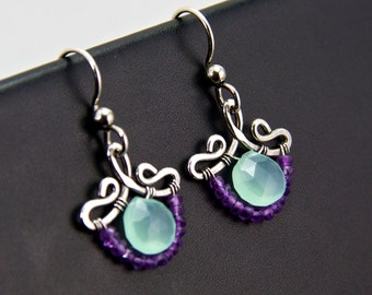 Petunia - Chalcedony and Amethyst Sterling Sliver Earrings