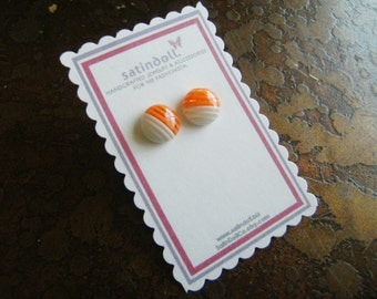 Orange Stripe Gold Plated Stud earrings