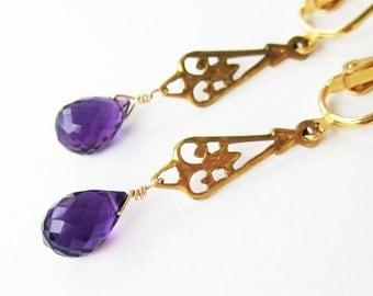 Purple Teardrop Clip On Earrings, Deep Purple Amethyst Faceted Drop Dangle Clipons, Gold Ear Clips, Brass Fleur de Lis, Handmade, Ophelia