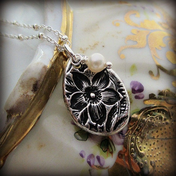 Vintage Flower Imprint Charm Necklace in eco friendly fine silver