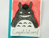 Hand Painted Totoro Graduation Card, Congratulations Totoro card, Red totoro greeting card, watercolor hand painted card, Aqua red totoro