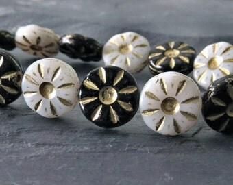 Black and White Czech Glass Bead 12mm Daisy Flower :  10 pc Czech Flower