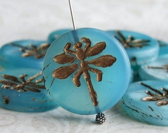 Aqua Pearl Picasso Dragonfly 23mm Czech Glass Bead : 2 pc Blue Dragonfly Large Bead