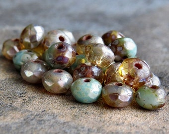 Champagne Picasso Mix 5x3mm Czech Glass Bead Faceted Rondelle :  30 pc Czech Picasso Champagne Donut Beads
