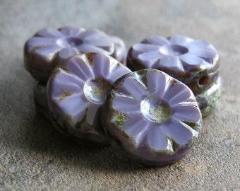 Lavender Picasso Czech Glass Bead 12mm Daisy Flower :  6 pc Czech Flower
