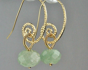New Jade Gold Swirl Earrings Light Green