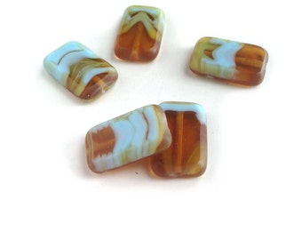 Amber Turquoise Blue Rectangle Beads Vintage Czech Table Cut Lily Scroll 16mm