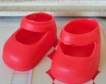 Vintage / Plastic Mary Jane Style Shoes / One Pair / Bright Red