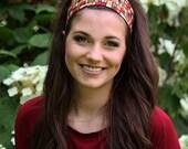 Women's Beautiful Burgundy & Gold African Print Wide Headbands