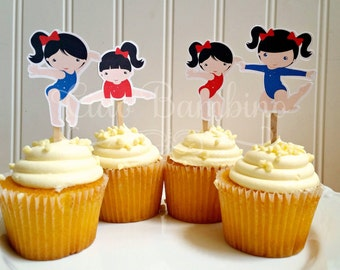 Gymnastics Party Cupcake Toppers / Die Cut Gymnastics Birthday Cupcake Toppers in Red and Blue / Choose Your Hair Color / Set of 12