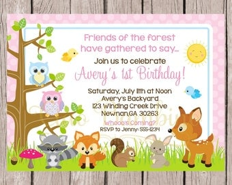 PRINTABLE Woodland Forest Animal Birthday Party Invitation for Girls in Pink / Owls, Squirrel, Fox, Bird, Bunny, Deer, Raccoon / Baby Shower