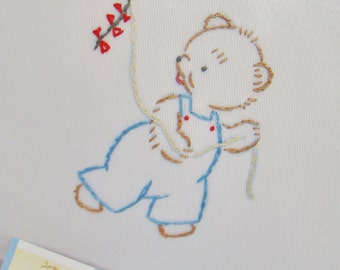 Teddy Bear & Kite -  Hand Embroidered Nursery Pillow - Ready to Ship - Last Minute Shower Gift