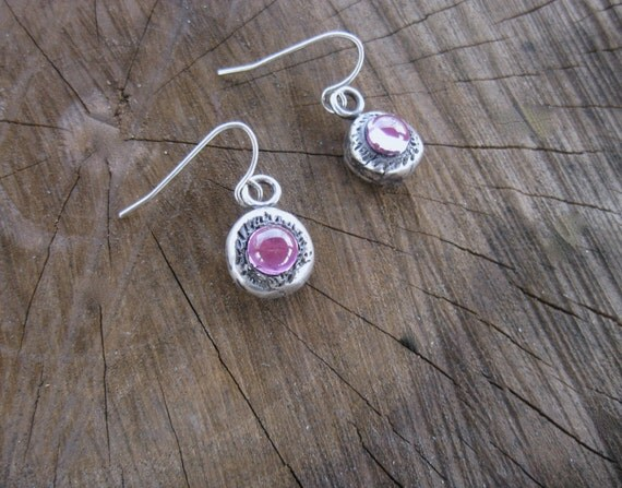 Metal Clay with Lab Created Pink Sapphire Earrings-Eco Friendly-Recycled Metals-Vegan Earrings-Conflict Free Stones-PMC