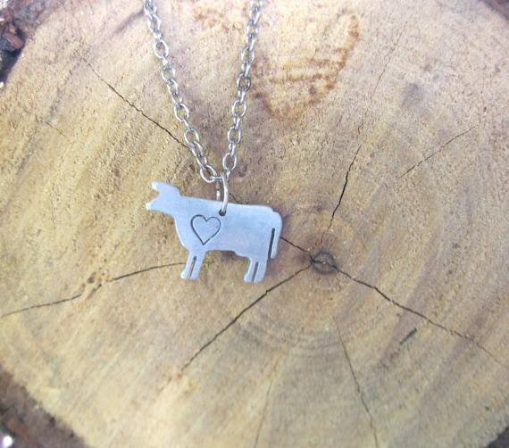 Mini Cow with Heart Necklace-Vegan Necklace-Vegan Jewelry-Gift-Birthday-Taurus-Zodiac-Ethical-Farm Animal Necklace-Eco Friendly-Personalized