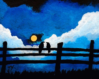 Black bird Fence Valentine Love art PRINT of Todd Young painting TOGETHER