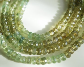 Half or Full Strand, Shaded Green Apatite Faceted Rondelle Beads, 4MM
